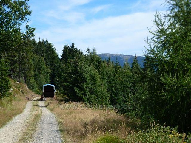 Dolní Morava - přepravník koní stojí na vrstevnicové cestě po červené TZ na úbočí Klepáče