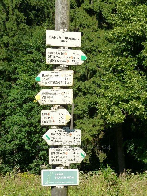 Branná - turistický rozcestník u hájovny Banjaluka
