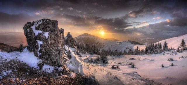 Západ nad vrcholem Babky, někde pod Malou Kopou