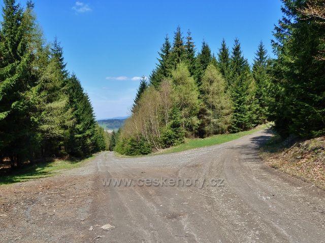 Rozcestí na cyklostezce 4071 nad Hejnovem.V průhledu na obzoru  je vrch Slamník nad Dolní Moravou