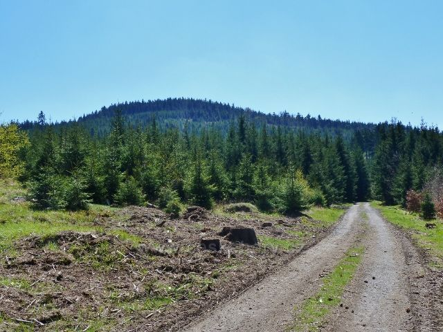 Zpětný pohled z cesty pod Vysokým kamenem do Lichkova na vrch Boudu