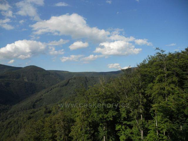 Pohled z Kočičích skal vlevo na Homoli, vzadu vpravo je Františkova myslivna