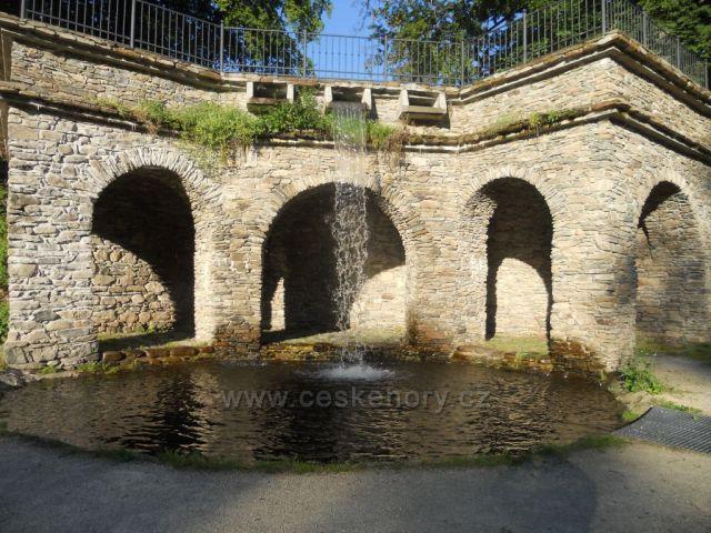 Loučná nad Desnou,vodopád v zámecké zahradě