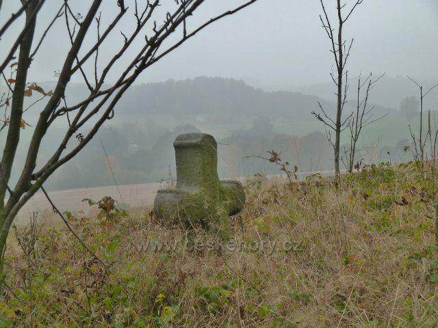 """Vlčkovice - pohled od smírčího kříže na vrch """"Na Vrších"""" (620 m.n.m.)"""