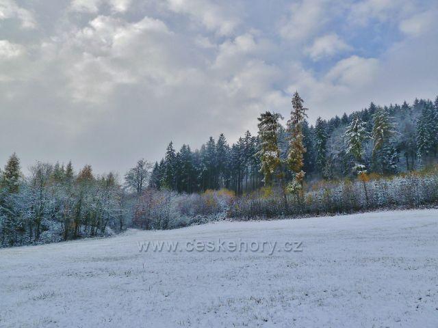 Záchlumí - zimní cesta přes pastviny na Chlum