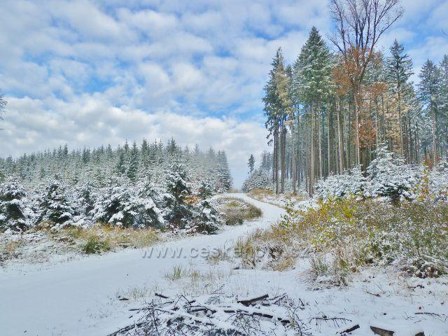Zimní cesta k telekomunikační věži na Chlumu