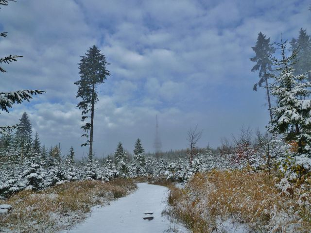 Zimní cesta z Žitné k telekomunikační věži na Chlumu