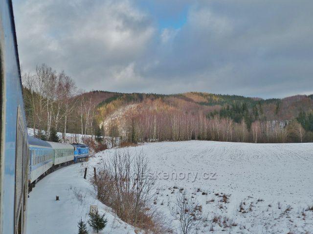 Zimní průjezd Slezským Semmeringem