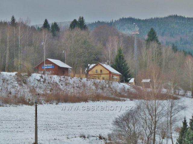 Zimní průjezd Slezským Semmeringem - pohled z vlaku na protilehlé nádraží v Horní Lipové