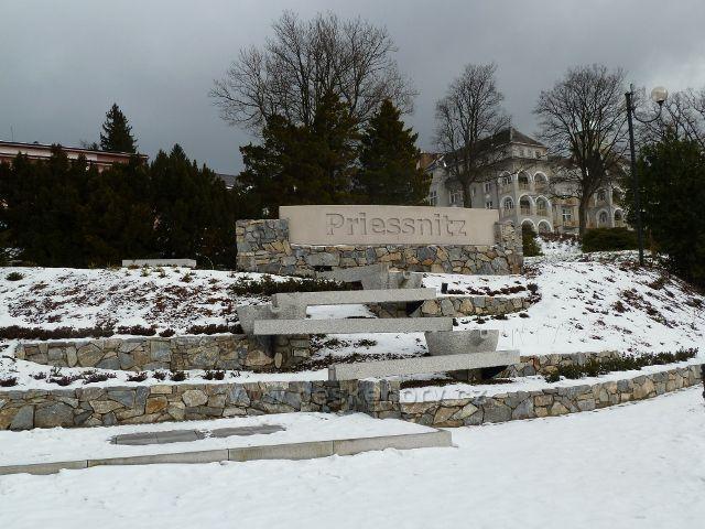 Lázně Jeseník - vodní kaskáda pod sanatoriem Priessnitz