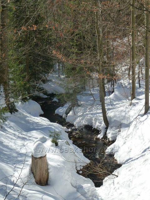 Říčky v O.h. - jeden z přítoků Hlubokého potoka před horním parkovištěm pod Zakletým