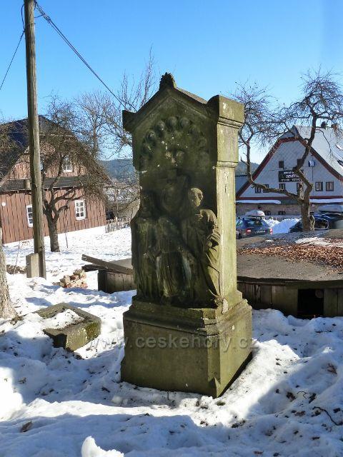 Říčky v O.h. - pomník před kostelem