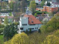 Náchod - pohled z ochozu zámecké věže na bývalou Bartoňovu vilu