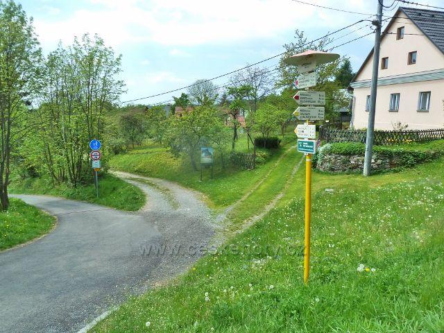 Rešov - turistický rozcestník před parkovištěm u restaurace Rešov