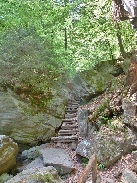 Rešovské vodopády - žebřík pod malým vodopádem