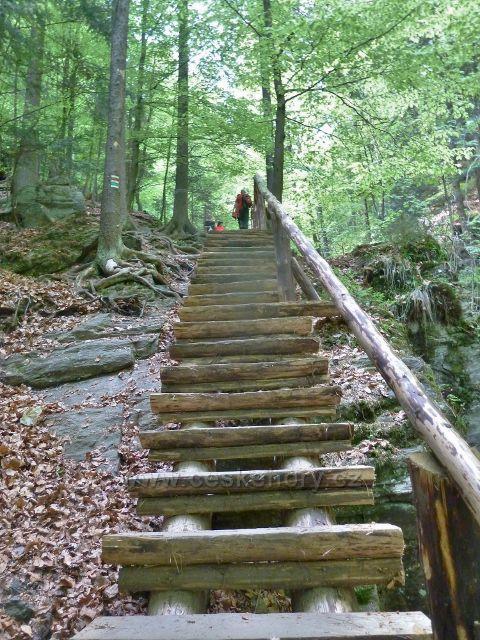 Rešovské vodopády - schody nad malým vodopádem