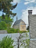 Rešov - průhled ke kostelu svaté Kateřiny
