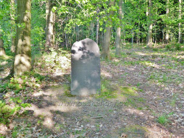 Rozhledna Háj - Jubilejní kámen knížete Johanna II.z Lichtenštejnu na pokraji lesa nad hájovnou Vápenice