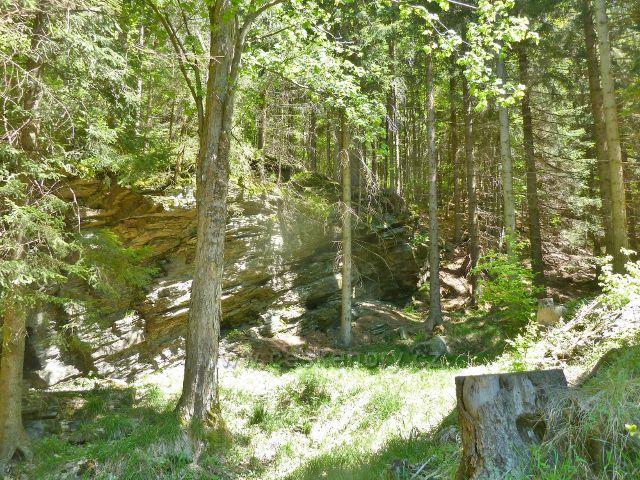Skaliska nad prvním poldrem na Jelením potoku