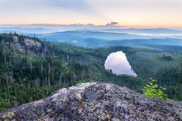 Plešné jezero- Bostlova vyhlídka.