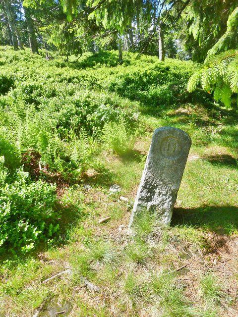 Jeden z několika starých hraničních kamenů na trase po červené TZ k Malému Jezerníku