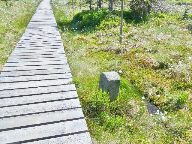 Starý hraniční kámen u chodníku přes Malý Jezerník