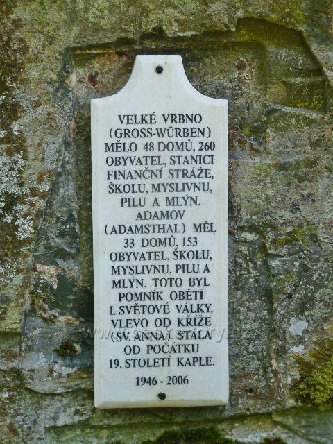 Velké Vrbno - pamětní tabule obce