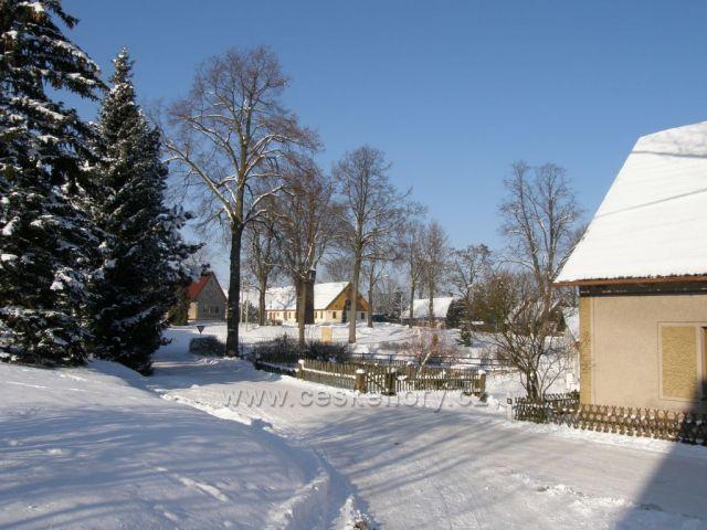 zimní náves-Velké Petrovice