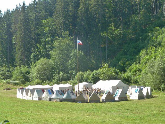 Chrastice - skautský tábor na tábořišti Pasínky u Prudkého potoku