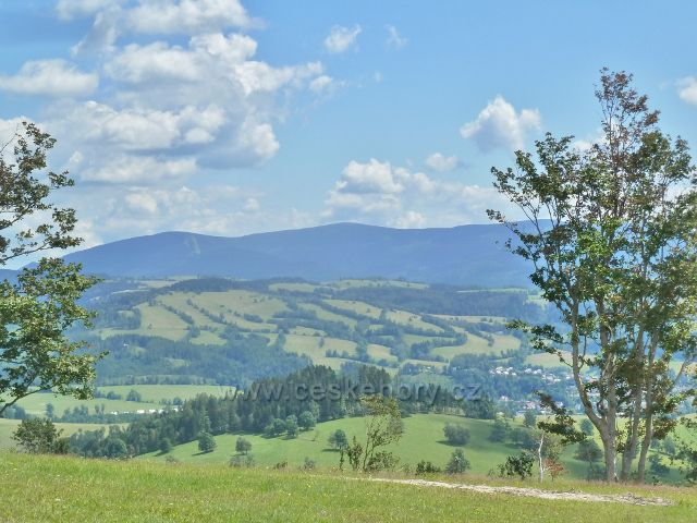 Hynčice p.Sušinou - pohled z úbočí Štvanice ke Starému Městu p.Sněžníkem, v pozadí Šerák a Keprník