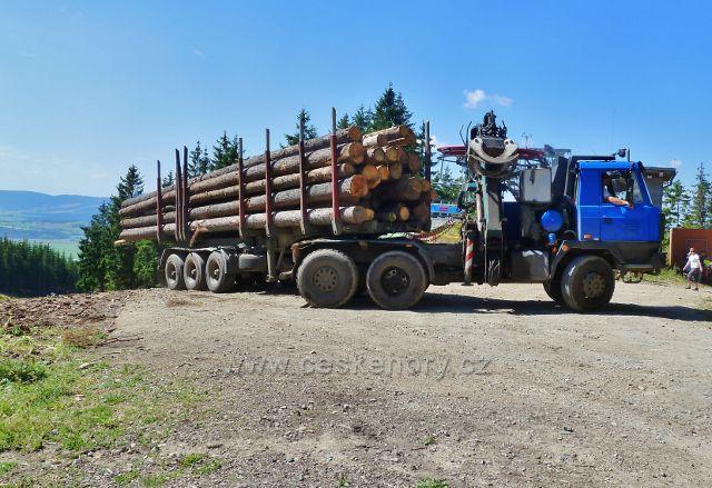 Dolní Morava - odvoz dřeva z rozcestí Vyhlídka - lanovka