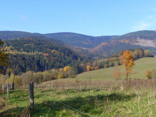 Chrastice - pohled do údolí Prudkého potoka v pásmu Králického Sněžníku