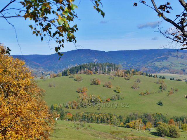Hynčice pod Sušinou - pohled z hynčických pastvin na Kozí vrch (695 m.n.m.) nad Štěpánovem
