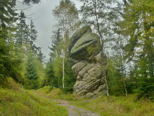 Polické stěny - skalní útvar u cesty po červené TZ k Supímu hnízdu