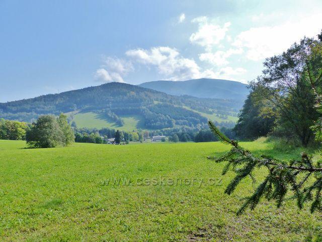 Loučná nad Desnou - pohled od silničky z Přemyslova na protilehlý vrch Skály ( 864 m.n.m.)