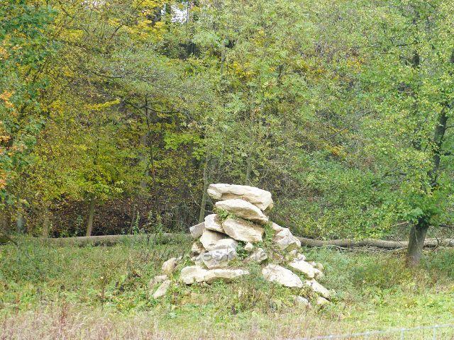 Vysoký Potok - část soukromé obůrky s uměle navršenou skalkou