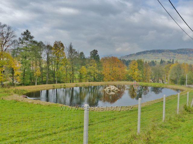 Vysoký Potok - nově vybudovaný rybník v dolní části obce