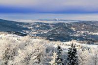 Výhled ze Štěpánky(rozhledna) na Tanvald a Ještěd.