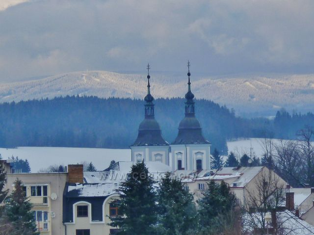 Žamberk - pohled na vrch Zakletý v Orlických horách
