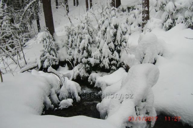 Jáchymovský potok-přívaly sněhu