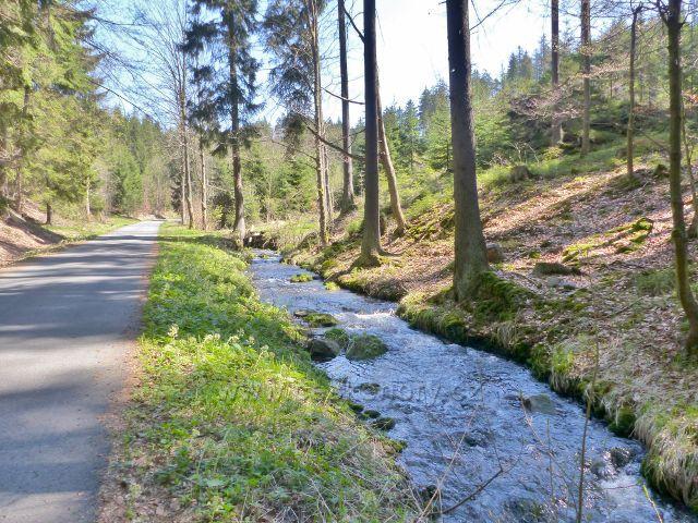 Silničku do Moravského Karlova provází říčka Březná
