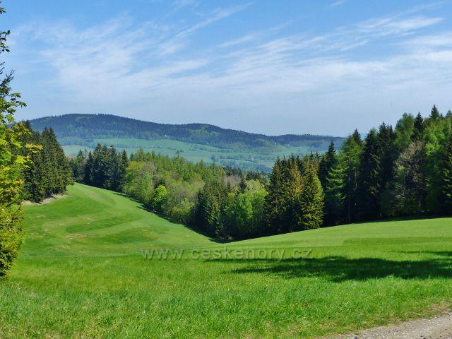 Pohled na Čečolu z cesty po zelené TZ do Mlýnického Dvora