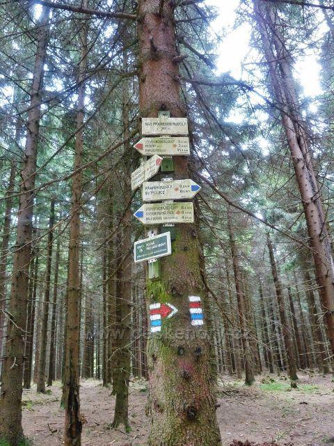 """Podlesí - turistický rozcestník """" Nad pramenem Rudolf, 881 m.n.m."""""""