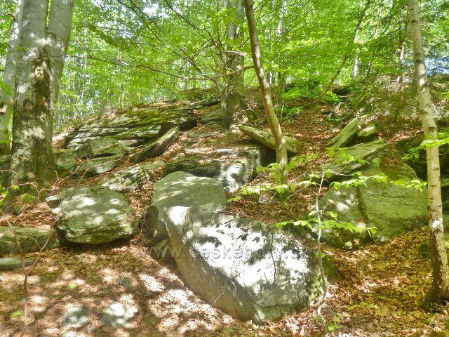 Stezka po modré TZ ke skalnímu útvaru Tři kameny