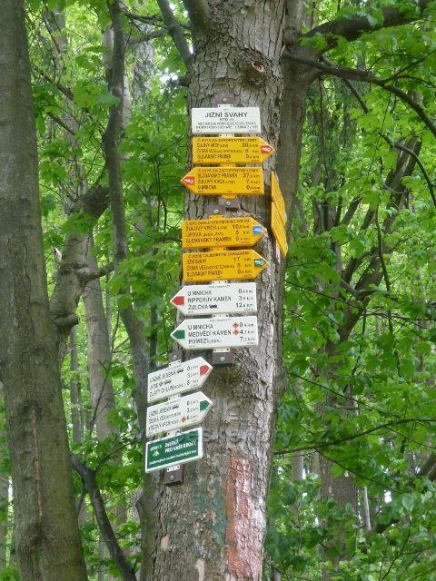 """Lázně Jeseník - turistický rozcestník """"Jižní svahy, 670 m.n.m."""""""