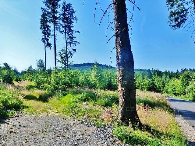 "Lichkov - pohled z Mladkovské ""bunkrovky"" k vrchu Bouda (845 m.n.m.)"
