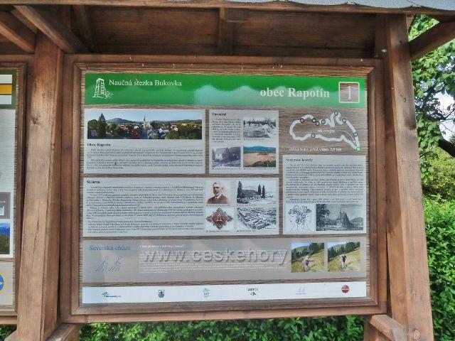 Rapotín - panel 1.zastavení NS Bukovka, obec Rapotín, před Informačním centrem