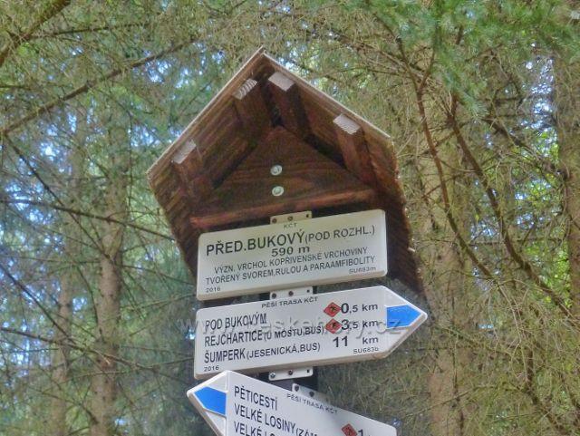 """Rapotín - Bukovka,turistický rozcestník """"Přední Bukový (pod rozhl.),590 m.n.m."""""""