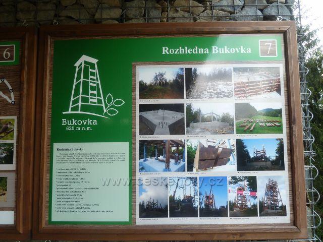 Rapotín - Bukovka, panel 7. zastavení NS Bukovka, Rozhledna Bukovka je umístěn vedle panelu 6.zastavení v přízemí rozhledny