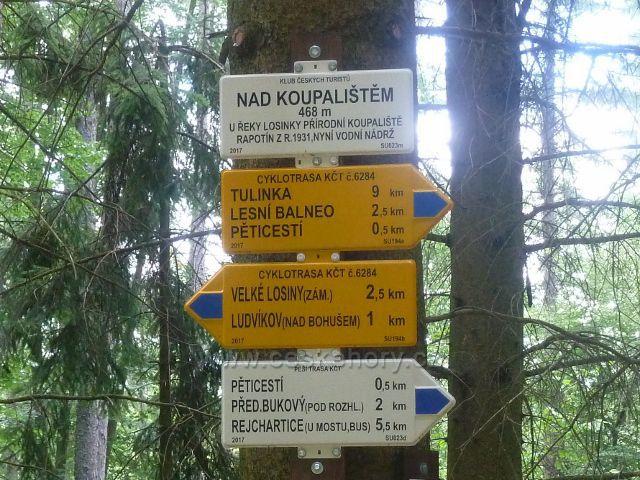 """Rapotín - Bukovka, turistický rozcestník """"Nad koupalištěm, 468 m.n.m."""""""